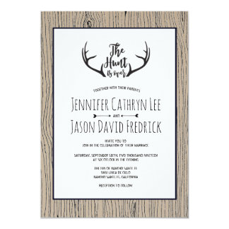 """Hunt is Over"" Rustic Antler Barnwood Wedding Card"