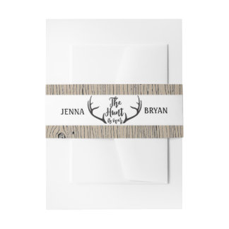 """Hunt is Over"" Rustic Antler Barnwood Wedding Invitation Belly Band"
