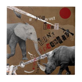 Hunt Wildlife Poachers Ceramic Tile