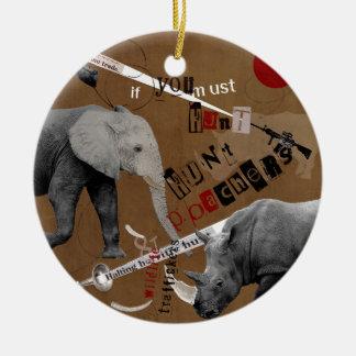 Hunt Wildlife Poachers Round Ceramic Decoration