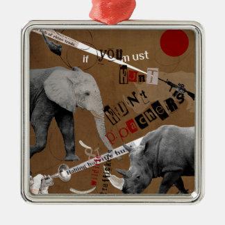 Hunt Wildlife Poachers Silver-Colored Square Decoration