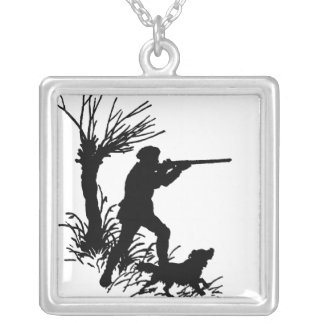 Hunter And Dog Square Pendant Necklace