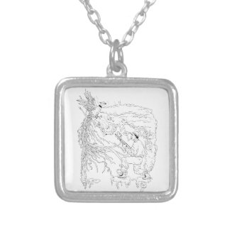 Hunter and Pheasant Ukiyo-e Silver Plated Necklace