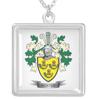 Hunter Family Crest Coat of Arms Silver Plated Necklace