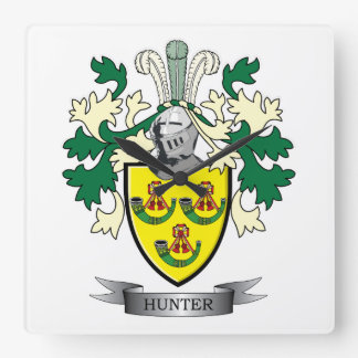 Hunter Family Crest Coat of Arms Square Wall Clock