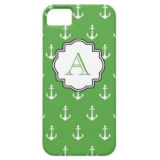 Hunter Green Anchor Print Monogram iPhone 5 Cases