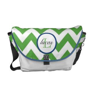 Hunter Green and Navy Blue Monogram Diaper Bag Courier Bag