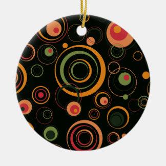 Hunter Green and Peach Playful Retro Circles Round Ceramic Decoration