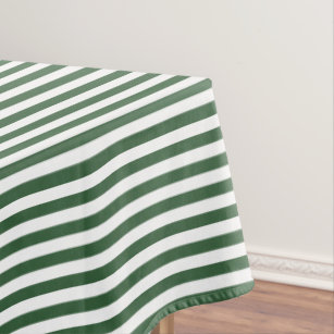 Hunter Green And White Stripe Tablecloth