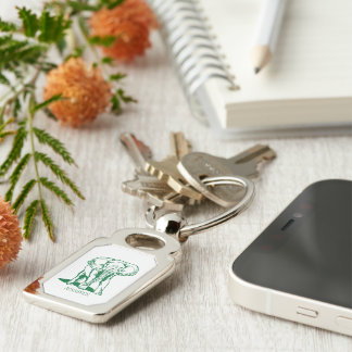 Hunter Green Elephant Line Drawing With Monogram Silver-Colored Rectangle Key Ring