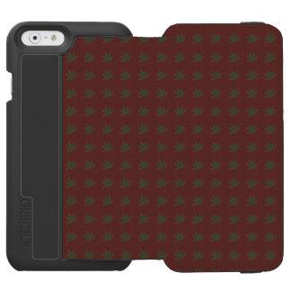 Hunter green leaves on dark red vintage decorative incipio watson™ iPhone 6 wallet case