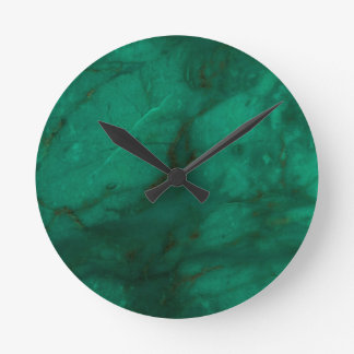 Hunter Green Marble Round Clock