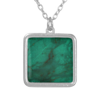 Hunter Green Marble Silver Plated Necklace