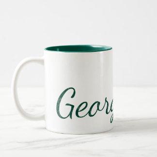Hunter Green Monogrammed Textured Name Two-Tone Coffee Mug