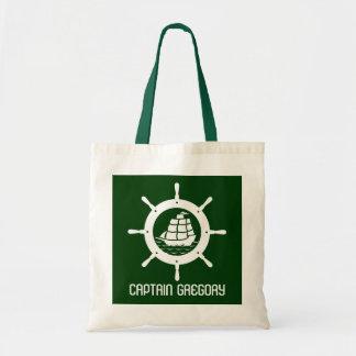 Hunter Green & White Nautical Boat Wheel Tote Bag