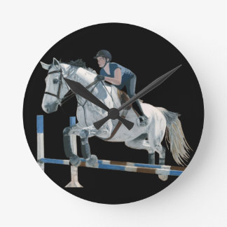 Hunter/Jumper Horse Black Wall Clock