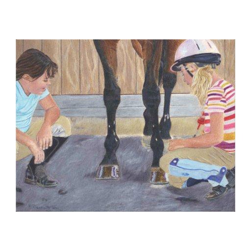 Hunter Jumper Horse & Kids Wrapped Canvas Canvas Prints