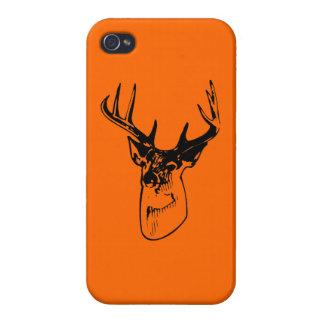 Hunter Orange Big Whitetail Buck Silhouette iPhone 4/4S Cases