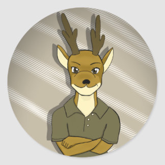 Hunter The Deer Classic Round Sticker
