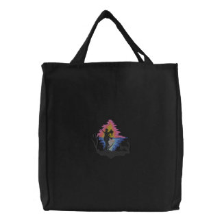Hunter with Dog At Sunrise Embroidered Bags