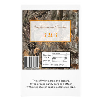 Hunter's Camo Chic Wedding Candy Wrapper 14 Cm X 21.5 Cm Flyer