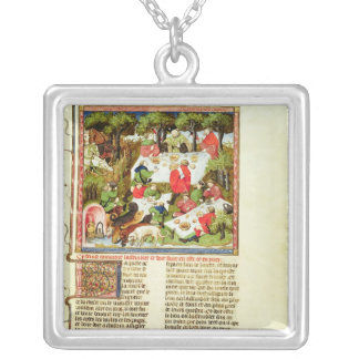 Hunters feasting before the stag hunt silver plated necklace