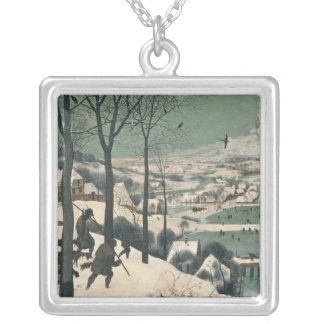 Hunters in the Snow - january, 1565 Silver Plated Necklace