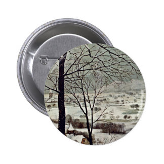 Hunters In The Snow (Month Of January) Detail 6 Cm Round Badge