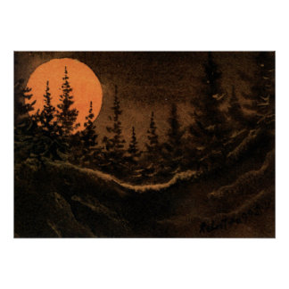 """Hunter's Moon - Light"" Landscape Poster Nocturnal"