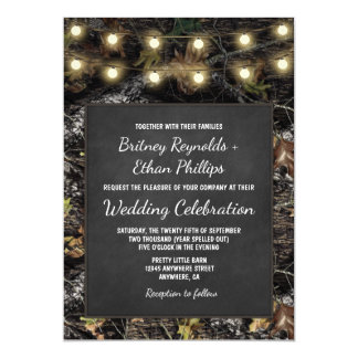 Hunting Camo Chalkboard Rustic Wedding Invitations