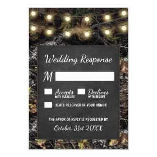 Hunting Camo Chalkboard Rustic Wedding RSVP Cards