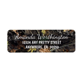 Hunting Camo Rustic Wedding Return Address Labels