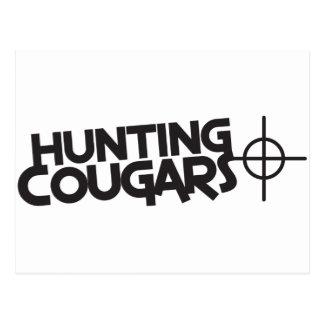 hunting cougars with bullseye and target postcard