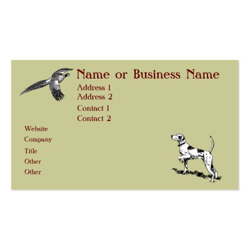 Hunting Dog and Pheasant Business Profile Card Business Cards