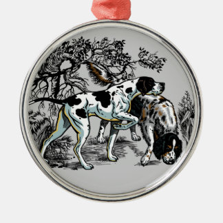 hunting dogs Silver-Colored round decoration