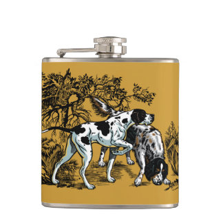 hunting dogs hip flask