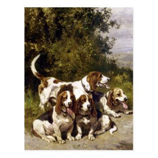 Hunting Dogs - Vintage Dog Art by Charles de Penne Postcard