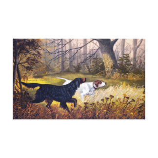 Hunting Dogs Vintage Painting Canvas Print