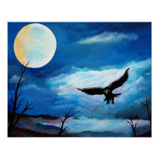 Hunting Hawk Night Moon Poster