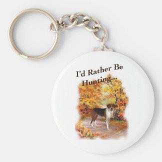 hunting hound dog basic round button key ring
