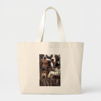 Hunting hounds behind wire fence bag