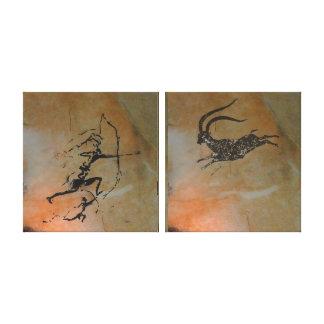 Hunting Ibex at Cova Remigia Canvas Print