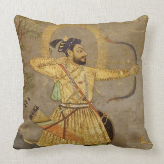 Hunting Maharaja Gold/Taupe Mughal Throw Pillow