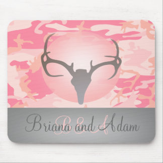 Hunting Theme Antlers and Pink Camo Mousepad