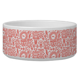 HUNTING WEIMARANER RED FLORAL LARGE PET BOWL