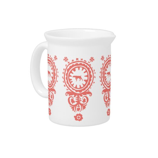 HUNTING WEIMARANER RED FLORAL Pitcher
