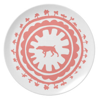 HUNTING WEIMARANER RED FLORAL PLATE