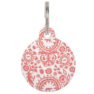 HUNTING WEIMARANER RED FLORAL ROUND LARGE PET TAG