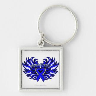 Huntington Disease Awareness Heart Wings Silver-Colored Square Key Ring