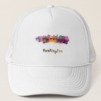Huntington skyline in watercolor trucker hat